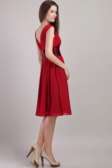 V-Neckline Knee Length Red Junior Prom Dress