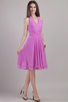 Halter Knee Length Lilac Chiffon Wedding Guest Dress