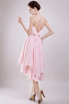 Spaghetti Straps High Low Pink Chiffon Homecoming Dress