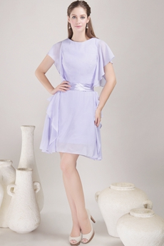 Short Sleeves Mini Length Lavender Homecoming Dress