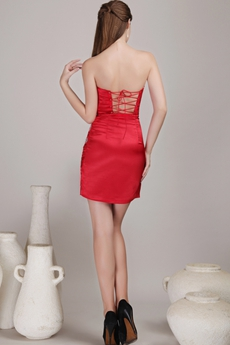 Lace Up Back Red Cocktail Dress