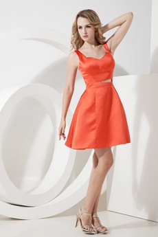 Lovely Mini Length Orange Satin Homecoming Dress