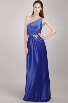 Simple Royal Blue One Shoulder Graduation Dresses for College