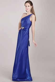 Simple Royal Blue One Shoulder Graduation Dresses for College