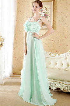 Cute Mint Green Chiffon Bridesmaid Dress With Handmade Flower