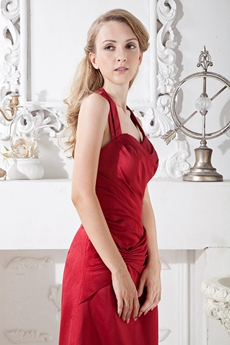 Top Halter A-line Red Satin Bridesmaid Dress