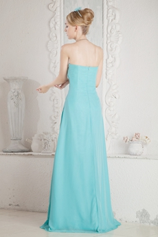 Pretty A-line Blue Chiffon Bridesmaid Dress With Beads