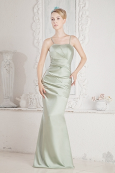 Spaghetti Straps Sage Satin Bridesmaid Dress With Pleats