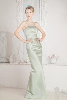 Spaghetti Straps Sage Satin Bridesmaid Dress With Pleats