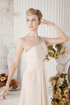 Delicate One Shoulder Champagne Chiffon Bridesmaid Dress