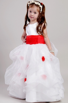 Pretty Red & White Flower Girl Dresses With Red Sash
