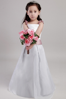 Spaghetti Straps White And Dusty Rose Flower Girl Dress