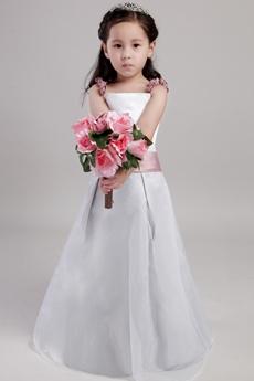 Spaghetti Straps White And Dusty Rose Flower Girl Dress