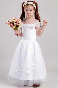 Off The Shoulder Flower Girl Dress With Handmade Flowers