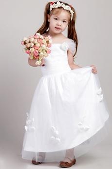 Off The Shoulder Flower Girl Dress With Handmade Flowers