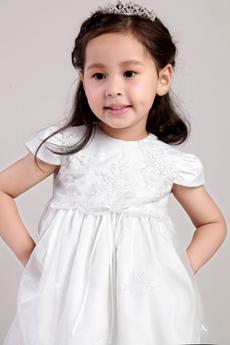 Cute Short Sleeves Tea Length Infant Lace Flower Girl Dress