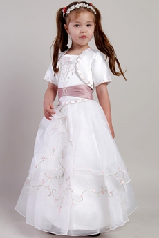 Lovely Dusty Rose And White Embroidery Flower Girl Dress