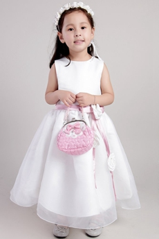Ankle Length White Organza Flower Girl Dress With Pink Sash