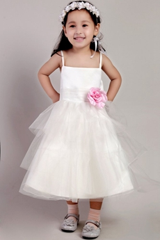 Tea Length Flower Girl Dress With Pink Flower