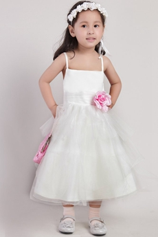 Tea Length Flower Girl Dress With Pink Flower