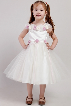 Lovely Off The Shoulder Puffy Tea Length Flower Girl Dresses