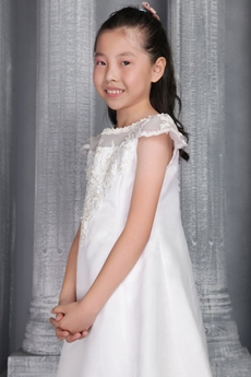 Cap Sleevs Jewel Neckline Tea Length Flower Girl Dress