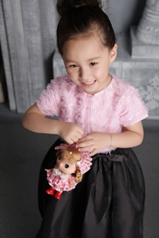 Pink And Black Toddler Flower Girl Dress Short Sleeves