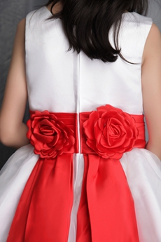Boat Neckline Puffy White Flower Girl Dress With Red Sash