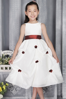 Tea Length Jewel Neckline White Flower Girl Dress With Burgundy Sash