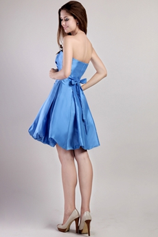 Puffy Mini Length Turquoise Taffeta Damas Dress