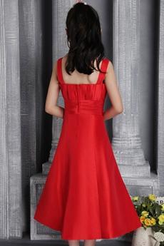 Tea Length Red Satin Girls Party Dress