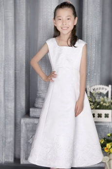 Ankle Length Square Neckline Flower Girl Dress With Beads