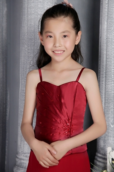 Sassy Spaghetti Straps A-line Red Satin Flower Girl Dress With Beads