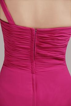Knee Length Fuchsia Bridesmaid Dress For Juniors