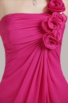 Knee Length Fuchsia Bridesmaid Dress For Juniors