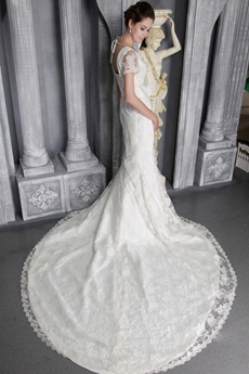 Modest V-neckline Lace Wedding Dresses With Short Sleeves