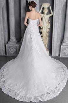 Beautiful A-line White Lace Bridal Dress With Satin Belt