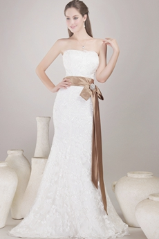 Vintage Mermaid/Fishtail Lace Wedding Dress With Brown Sash
