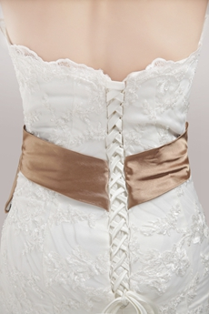 Vintage Mermaid/Fishtail Lace Wedding Dress With Brown Sash