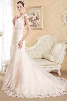 Classy Champagne Lace Wedding Dress Keyhole Back