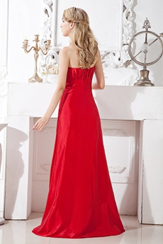 Dipped Neckline Red Taffeta Prom Party Dress With Ruched Bust