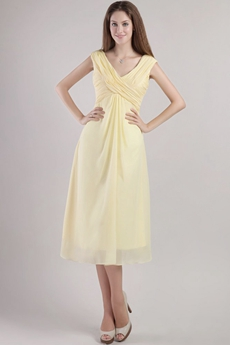 Tea Length V-Neckline Yellow Chiffon Wedding Guest Dress
