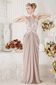 Stunning Halter Column Full Length Beige Chiffon Mother Dress