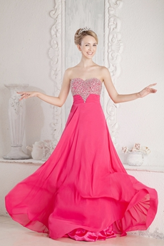 Pretty A-line Fuchsia Evening Gown With Beads