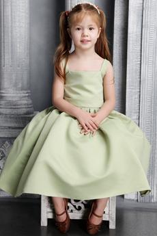 Sweet Tea Length Sage Satin Little Princess Dress
