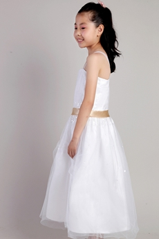 Ankle Length White Tulle Flower Girl Dress With Sequins