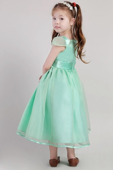 Tea Length Sage Colored Organza Flower Girl Dress