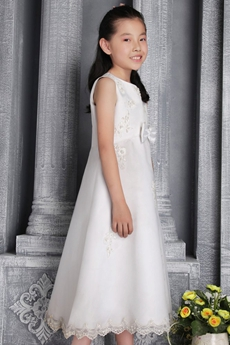 Jewel Neckline Tea Length White Flower Girl Dress With Pearls
