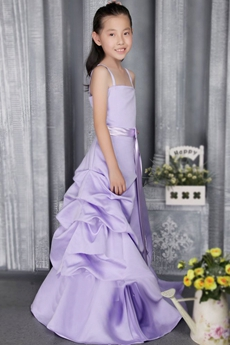 Beautiful Lilac Satin Little Girls Pageant Dress With Sash
