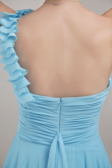 Pretty One Shoulder Blue Chiffon Marine Ball Dress